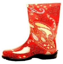 SLOGGERS 5004RD10 SIZE 10 WOMENS GARDEN BOOTS PAISLEY RED WATERPROOF USA 4272829