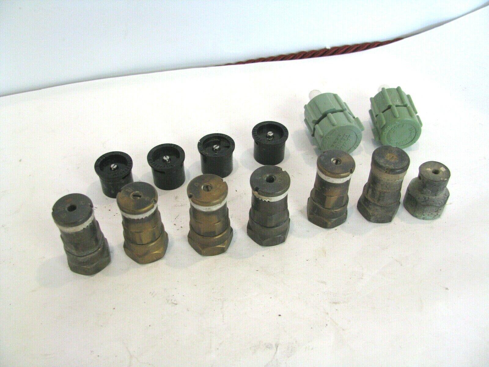 13 Brass Plastic Sprinkler System 360 half 1/4 Shrub Hedge Spray Head 1/2 in Lot