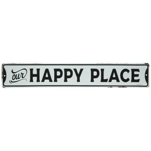 Our Happy Place Metal Sign Home Decor Wall Art Black & distressed White.20""