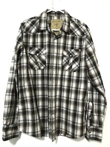 Guess-Jeans-Mens-Pearl-Snap-Long-Sleeve-Dress-Shirt-Flannel-White-Brown-Size-L