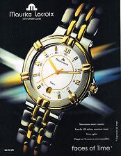 PUBLICITE ADVERTISING 104 1995  MAURICE LACROIX  montre FACES OF TIMES