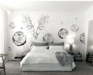 3D Holz Stakes Hirsch 7 Tapete Wandgemälde Tapete Tapeten Bild Familie DE Summer