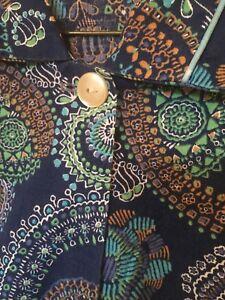 Blue 1960s Vintage Dress Floral House Coat L 14-16 Cotton