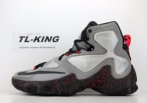 designer fashion 2e872 c993e Image is loading Nike-LeBron-13-James-Rubber-City-Lava-Silver-