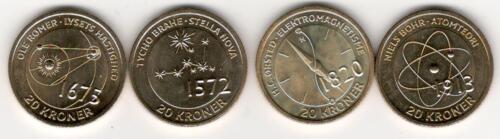 Denmark 20 kroner scientiets coins x4