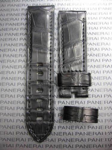 New 24 mm Genuine ALLIGATOR Deployment STRAP Black Leather BAND PANERAI PAM 1950