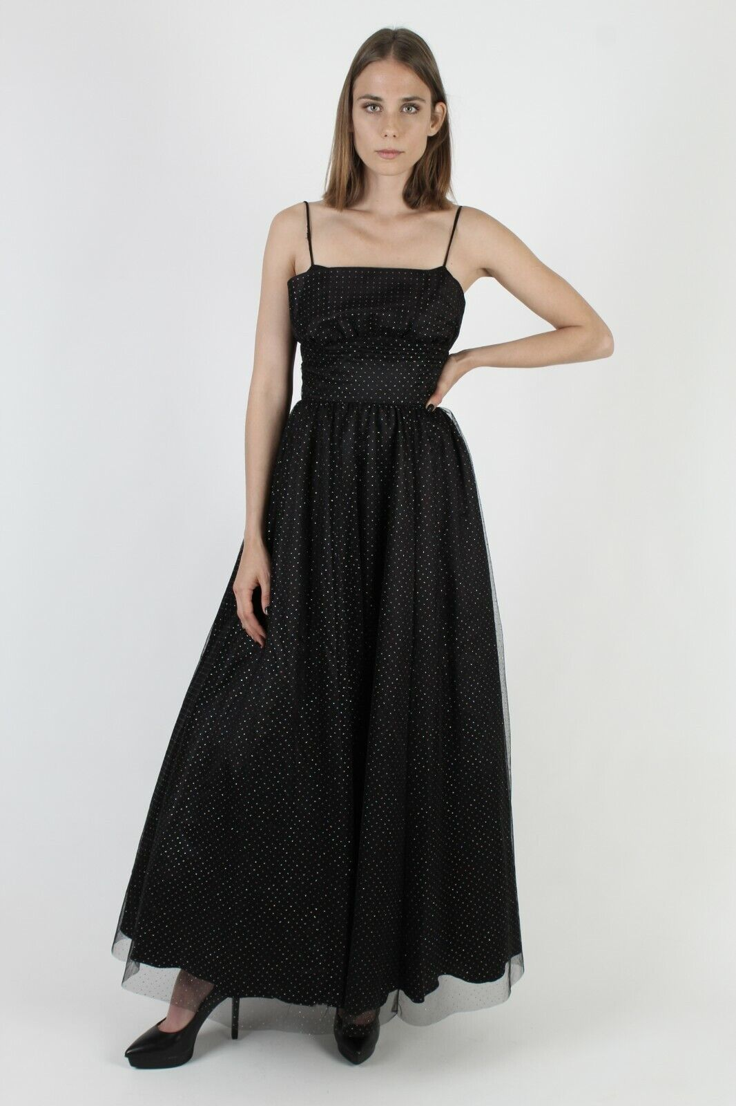 Vintage 80s Gunne Sax Dress Black Chiffon Rainbow… - image 2