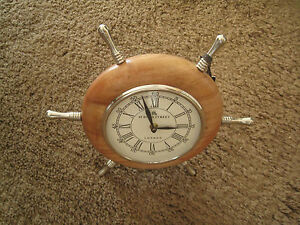 DREXEL-HERITAGE-49-Bond-Street-London-Desk-Clock-Nautical-Wheel-Porthole-NWT