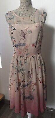 Robe Midi Marque Naf Naf Imprime Japonisant Rose Clair Et Fonce T 40 Ebay