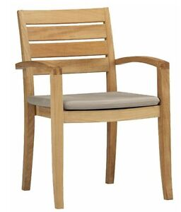 SET OF 2 STACKING TEAK ARM DINING CHAIR GARDEN OUTDOOR FURNITURE PATIO - TRAVOTA