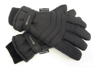 Mens Black Thinsulate Thermal Insulated Lined Winter Gloves