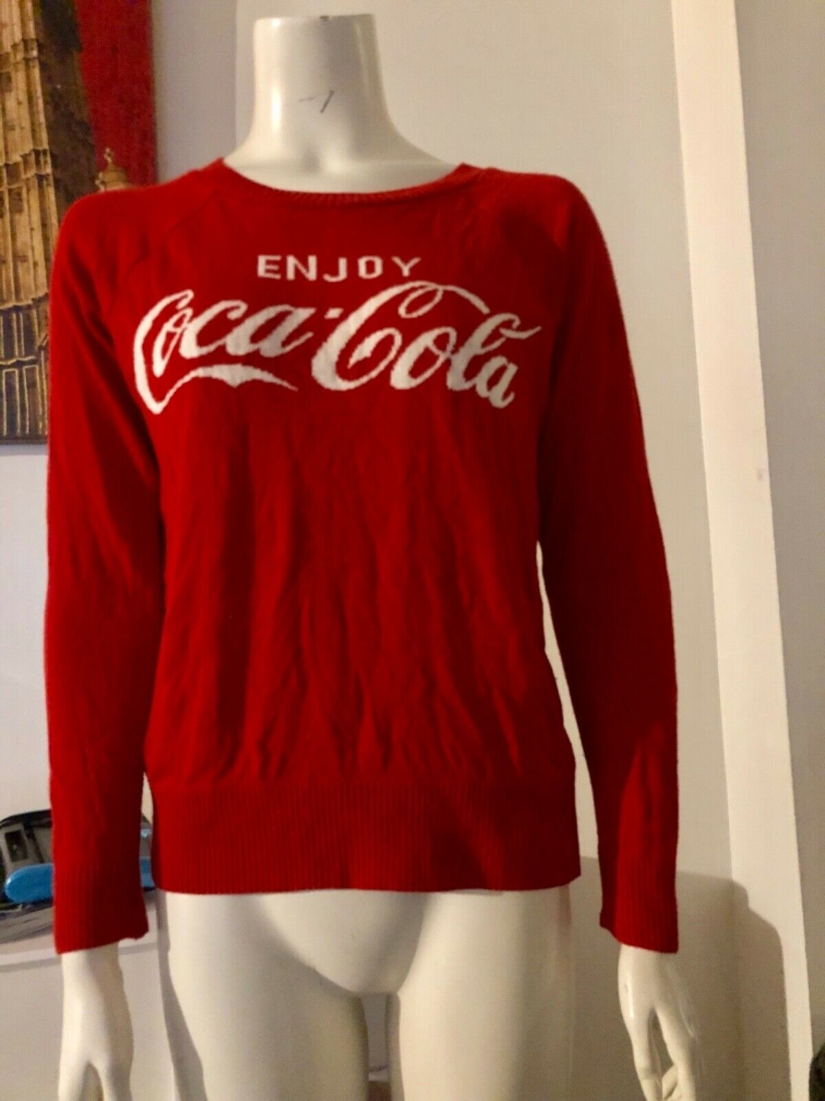 Vintage Coca Cola Spellout Sweater Size M  Red Rare 80's