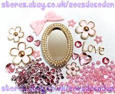 3D DIY Mobile Cell Phone Case pink Oval mirror flower cabochon Deco Den Kit