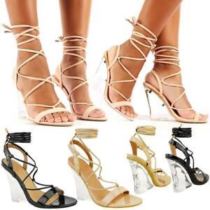 UK Ladies Womens Perspex High Heel Floral Shoes Pink Black Size 3 4 5 6 7 8 Toe