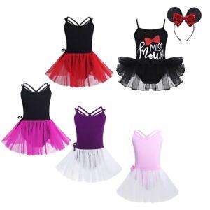 Toddler Girls Ballet Gymnastics Dress Straps Sequined Tutu Tied Skirts Dancewear