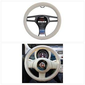 Protege-Volant-Simoni-Racing-FIAT-500-Direction-Universal-Cuir-Classe-37cm-Blanc