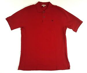 Burberry-London-Plaid-Collared-Short-Sleeve-Red-Polo-Shirt-Size-Large-Vintage