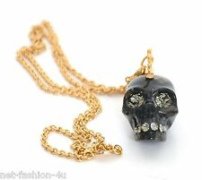 ALEXANDER McQUEEN BLACK AND GOLD SKULL PUNK MOHAWK NECKLACE AND PEDANT