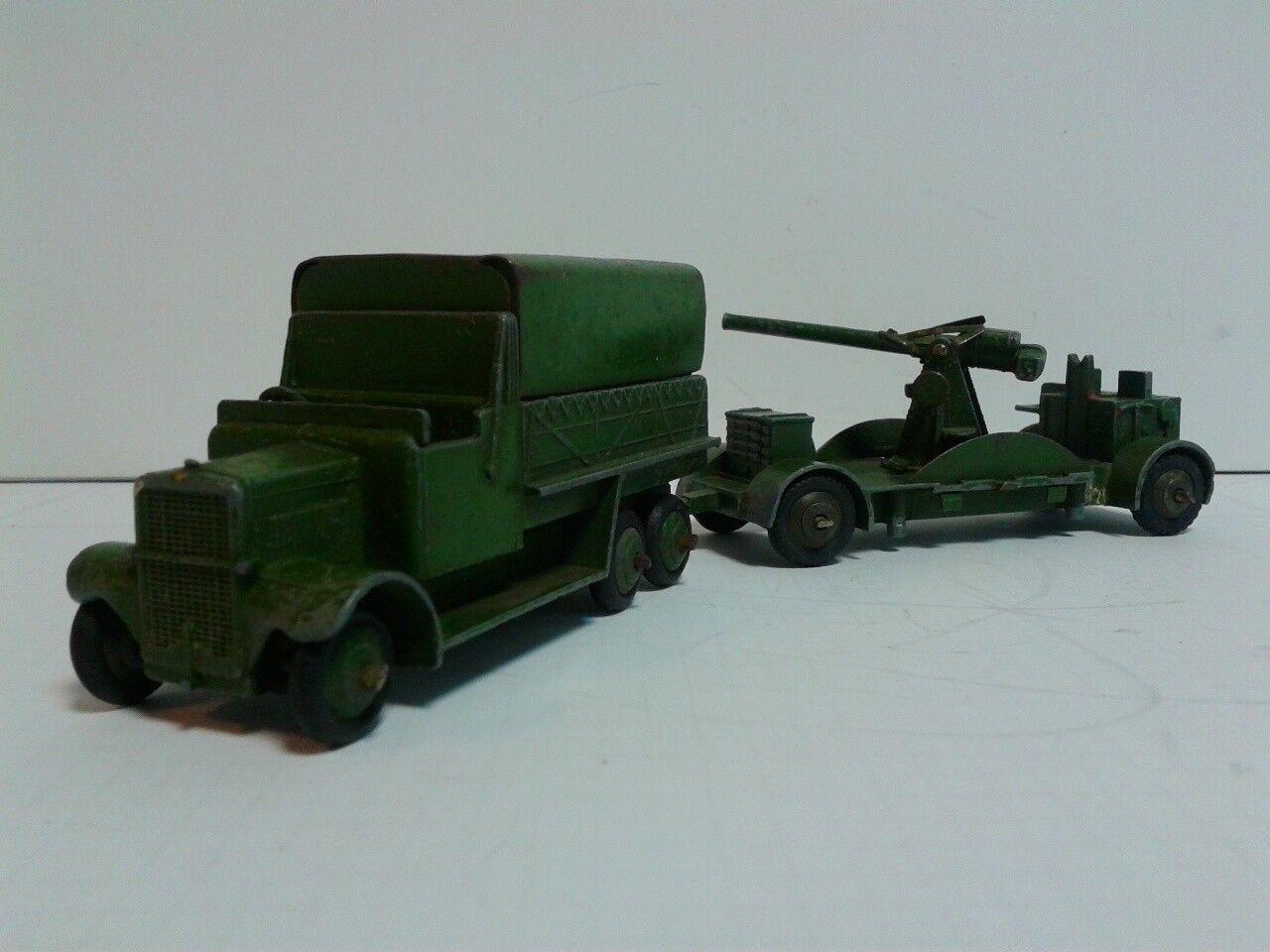 Dinky Toys 161b 6wheel Coverouge Wagon vert 1937-41+161B Anticraft Gun on trailer