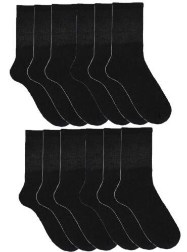 6 o 12 Paia di Calzini da Uomo Poly Cotone Taglia 7-11 EUR 41-46 Nero a Righe Lavoro