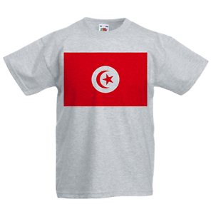 Tunisia Kid/'s T-Shirt Country Flag Map Top Children Boys Girls Unisex