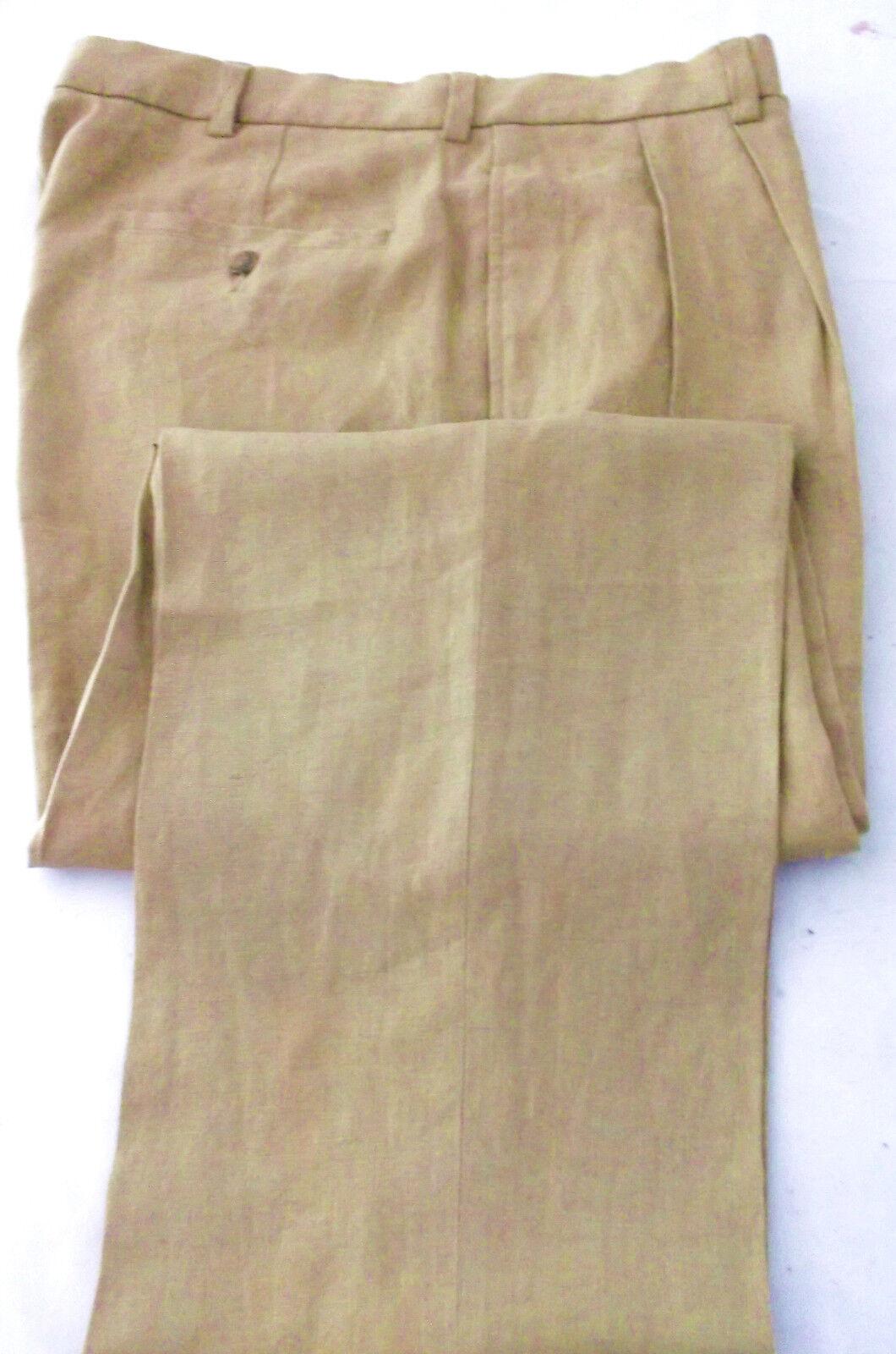 Beautiful Brooks Bredhers Camel 100% Linen Pleated Dress Pants Size 36 W  29   L