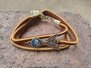handmade-unique-womens-tan-leather-bracelet-wrap-with-blue-amp-silver-Mermaid-gem