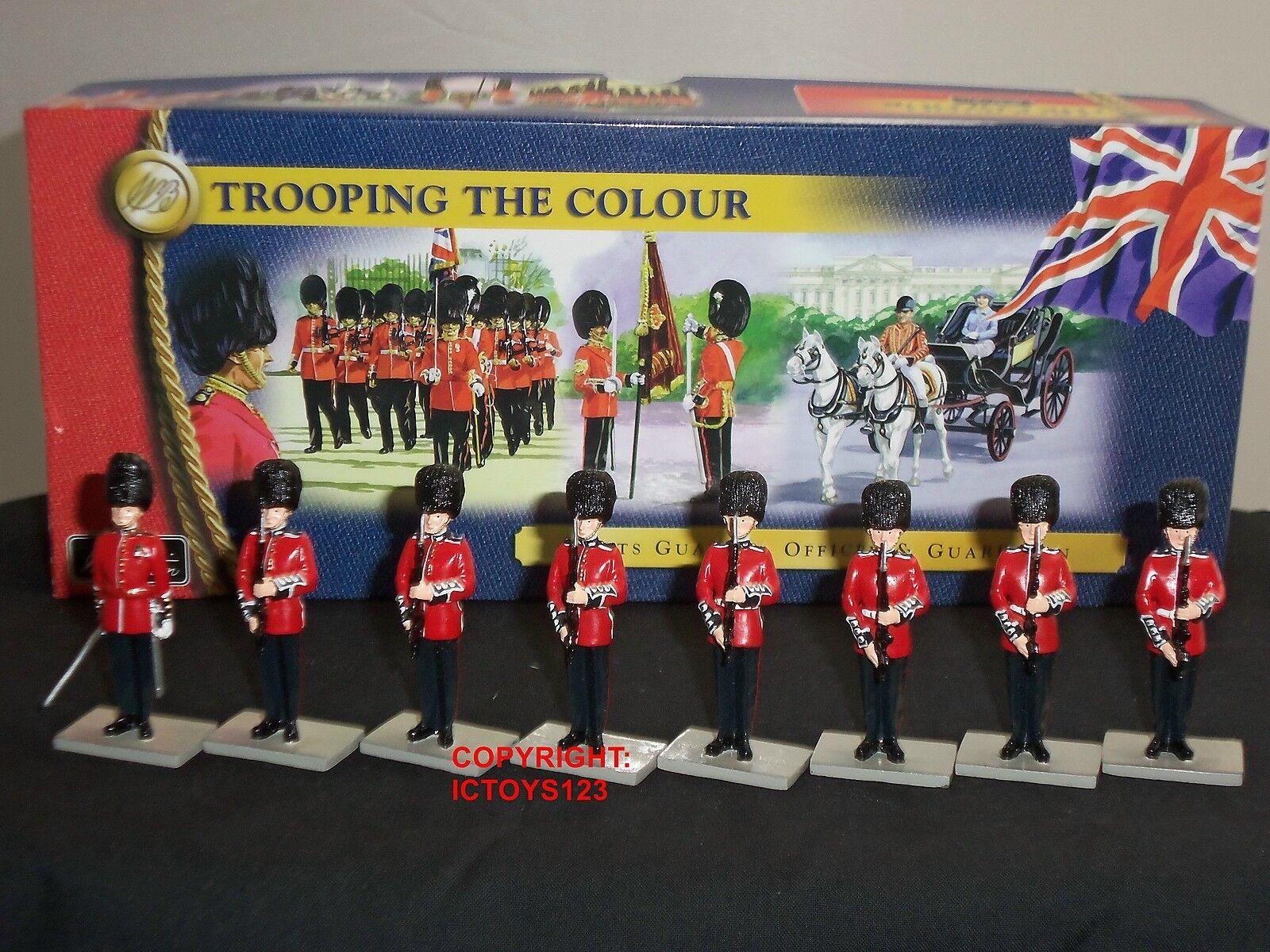 BRITAINS 40115 SCOTS GUARDS OFFICER + GUARDSMEN METAL TOY SOLDIER FIGURE SET