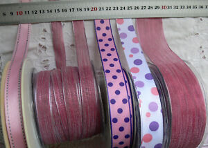 LAVENDER-amp-PINK-Polyester-16-38mm-Wide-2-3-amp-5-Metres-5-Design-Style-Choice