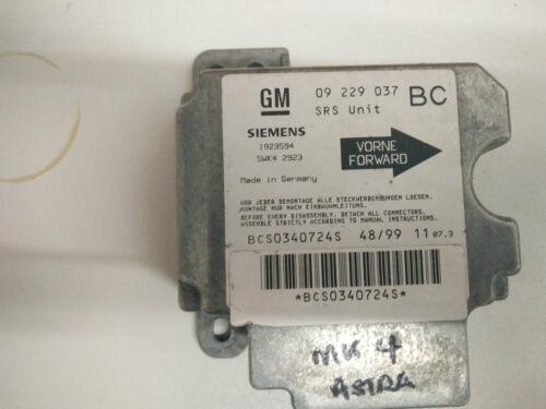 1998-2004 VAUXHALL OPEL ASTRA G MK4 Airbag Module de contrôle GM 09229037BC Siemens
