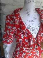 Topshop Celebrity Blogger Red Floral Daisy Frill Wrap Tea Dress Size 8 BNWT