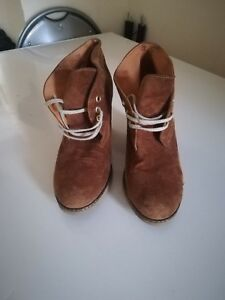 Womens-Gadea-Suede-leather-brown-ankle-Lace-up-boots-size-39-UK-6