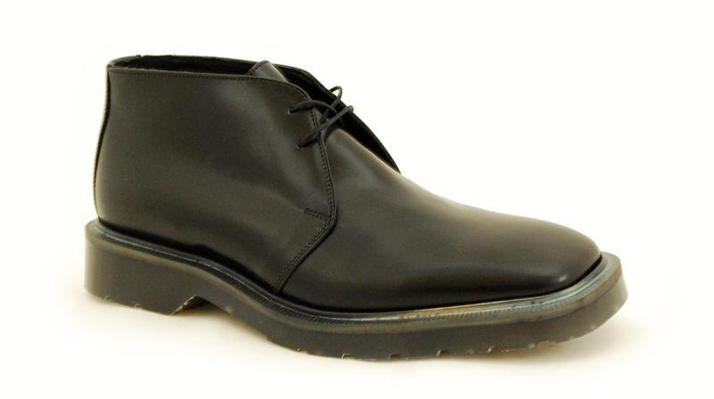 Solovair NPS Shoes Made in England 2 Eye Chukka Black Square Low Toe S001-1034