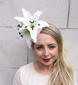 Image is loading Large-Champagne-White-Cream-Lily-Fascinator -Headpiece-Sequin- ec23167ffd8