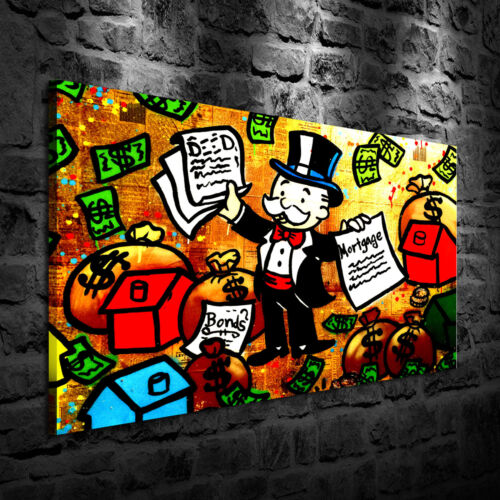 Oil Painting HD Print Wall Decor Art on Canvas Alec Monopoly Mortgage Unframed