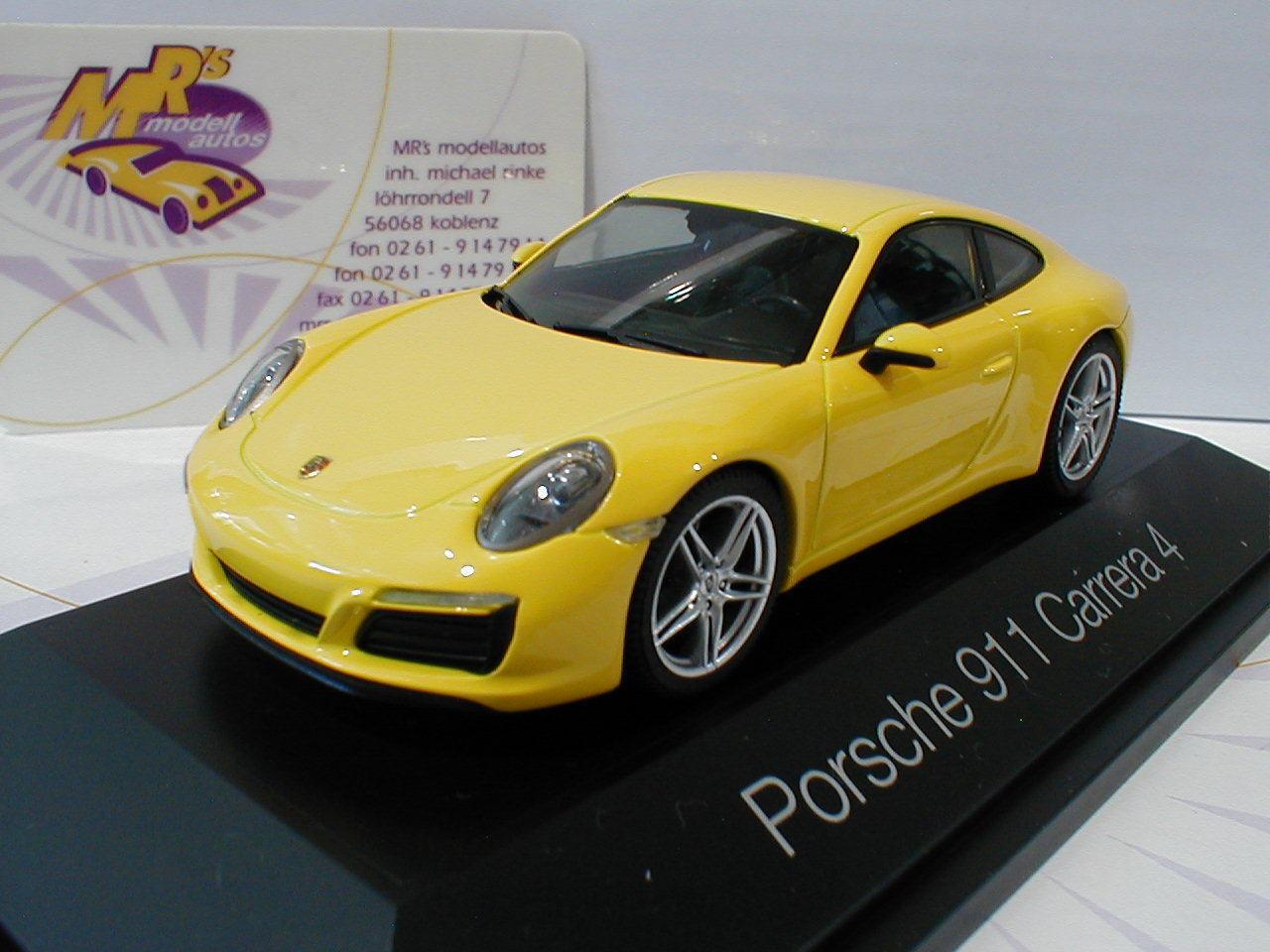 Herpa 071086 - Porsche 911 Carrera 4 Coupé in in in   racing yellow   1 43 NEU f80ec9