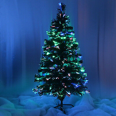 GREEN FIBER OPTIC CHRISTMAS TREE COLOUR CHANGING - 2ft 3ft 4ft 5ft 6ft XMAS NEW