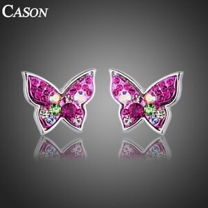 Colorful-Butterfly-Stud-Earrings-Austrian-Crystal-18k-White-Gold-Plated-Jewelry