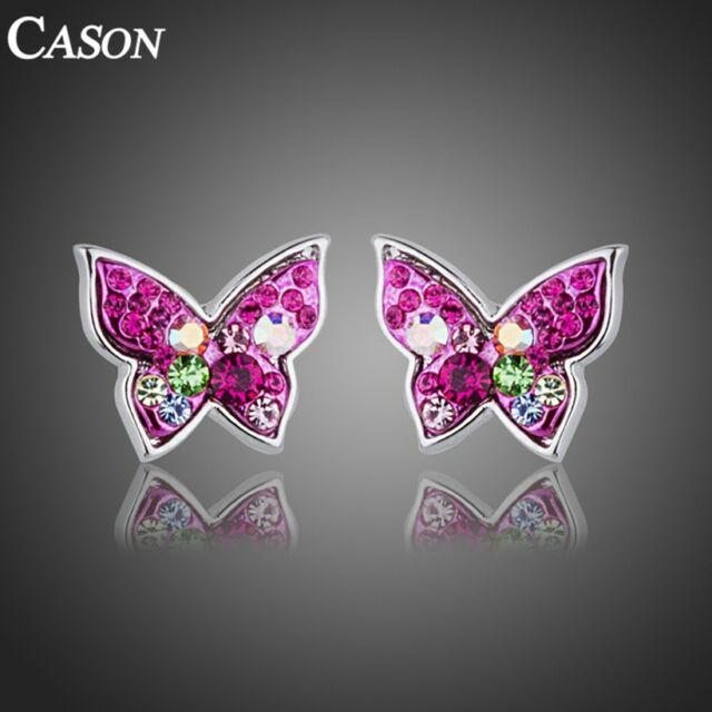 Colorful Butterfly Stud Earrings Austrian Crystal 18k White Gold Plated Jewelry