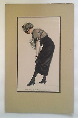 Lady In Dress Punctual Timing By James Montgomery Flagg 1915 First National Bank Advertisement
