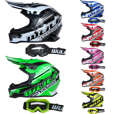 Black XL WULF GOGGLES /& GLOVES Kids Dirt Bike ATV Helmet Wulfsport Flite Children Kids Motocross HELMET
