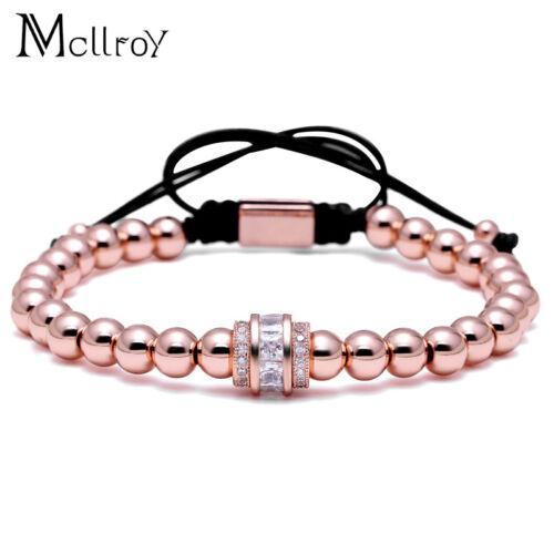 Violet de transport 7 MM perles bracelet cz zircon Pave Corde Tressé Fashion Jewelry