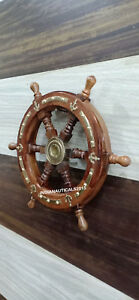 Vintage-Nautical-Brown-Wooden-Ship-Wheel-Boat-Steering-Wall-Decor-Anchor-Look