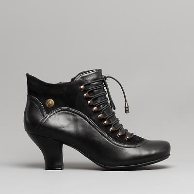 Hush Puppies VIVIANNA Womens Ladies Leather Vintage Lace//Zip Ankle Boots Black