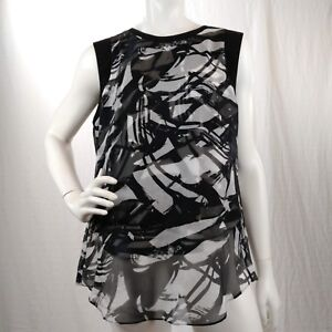 Vince-Camuto-Womens-Blouse-Black-White-Graphic-Print-Overlay-Sleeveless-Top-Sz-M