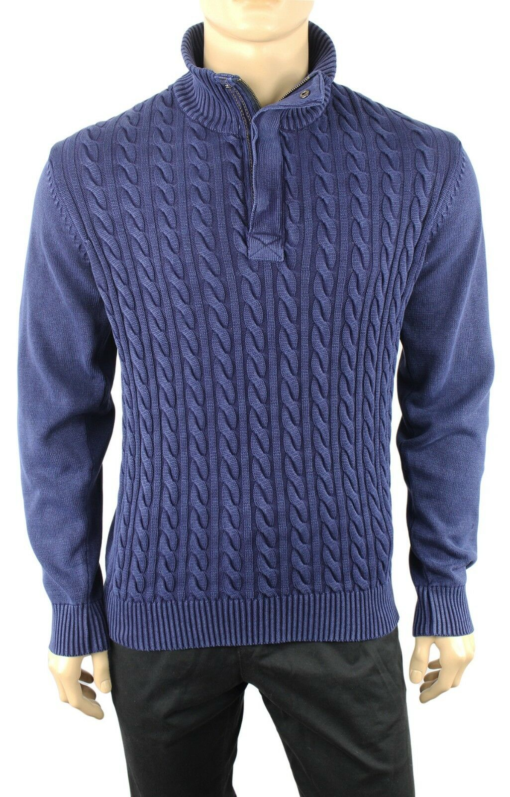 NEW WEATHERPROOF VINTAGE HALF ZIP STONEWASHED blueE CABLE KNIT SWEATER S