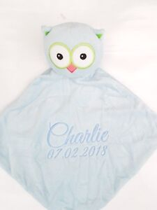 Personalised baby comforter snuggle blanketcubbie blue owl new image is loading personalised baby comforter snuggle blanket cubbie blue owl negle Choice Image