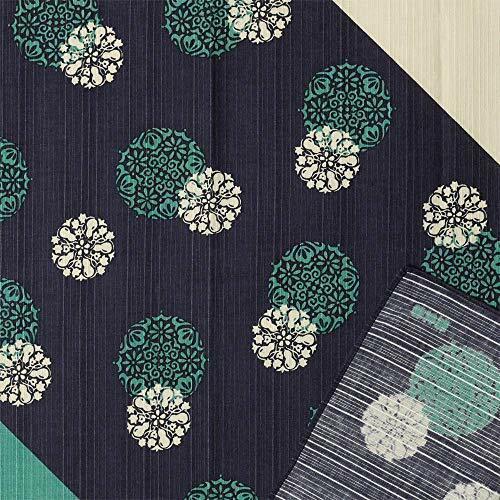 HAMAMONYO Furoshiki(20 in.) 'Japanese Flower Crests/Navy' From Japan