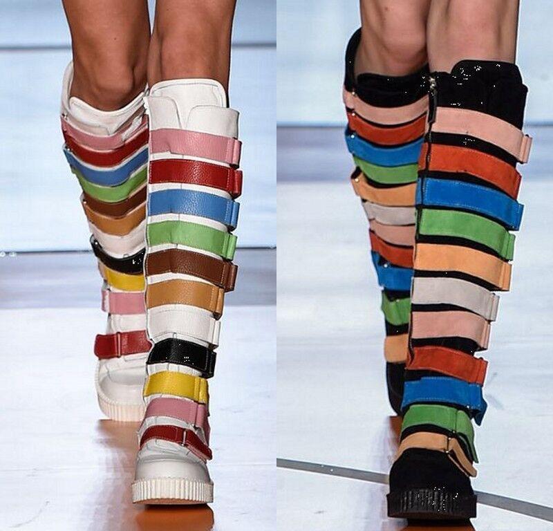 Donna flat knee high riding boots buckle strap punk gothic Scarpe Multicolour SH