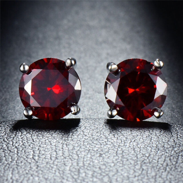 18K White Gold Filled Ruby  Created Round Stud Earrings ITALY MADE